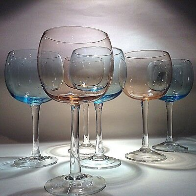 LARGE balloon wine glasses set PINK BLUE 80s 90s retro modernist