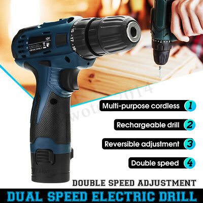 24x 12V Li-Ion 2 Speed LED Electric Cordless Hammer Drill Driver Screwdriver