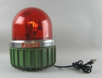 Vintage Commander Federal Signal Corp Model 371 Red Glass Alarm Light Rotating