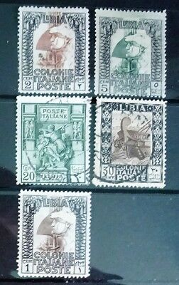 Libya. Five stamps of the Italian colony