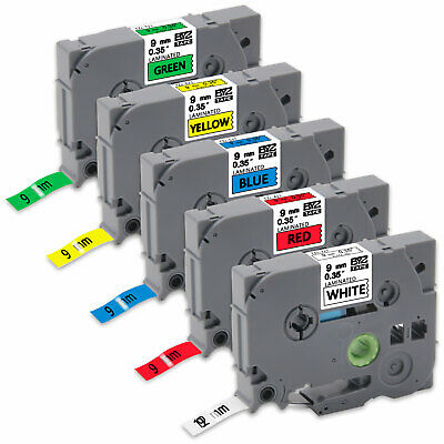 5PK TZe221-721 Multicolor Label Tape 9mm Compatible/Brother P-Touch PT-D600 D450