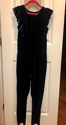 "Girl's ""Cat & Jack"" Navy Blue Velvet Jumpsuit~Size 7/8~Worn ONCE for Photos! EUC"