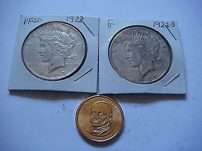 2  Peace Silver Dollars  90% Silver with a Bonus Coin    #9504