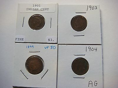 Lot of 4 nice old  Indian Head U.S cent Coins 1899, 1904, 1903, 1901,  #9585