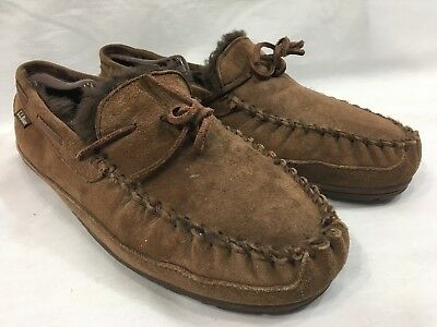 00a75a7f9 LL Bean Slippers Shoes Mens 10 M Brown Leather Suede Moccasins Lined Rubber  Sole