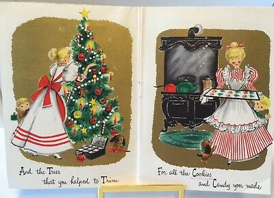 Pretty Lady, Child, Puppy, Gifts, Cookies, Vintage Multi Page Christmas Card!
