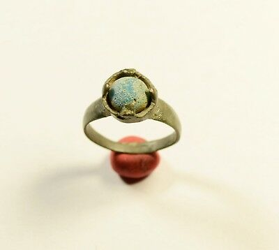 Stunning Medieval Bronze Ring With Blue Stone On Bezel - Wearable Artifact