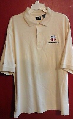 Union Pacific Cream Western Region Polo Golf style Mens Large S/S Shirt--NWOT