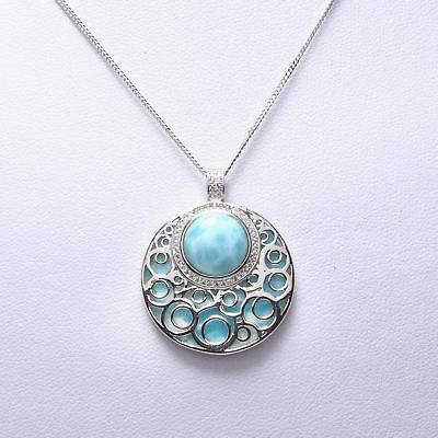 Solid 925 Sterling Silver Natural Dominican Larimar Gemstones Pendant Necklace