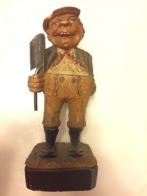 Cute wood carved painted vintage peasant figurine Sterling silver shovel in hand