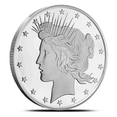 5 - 1 oz .999 Silver Rounds - Peace Dollay Design - Brilliant Uncirculated - New