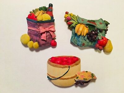 Vintage Refrigerator Magnets Fruit In Basket And Bags, Pretty!
