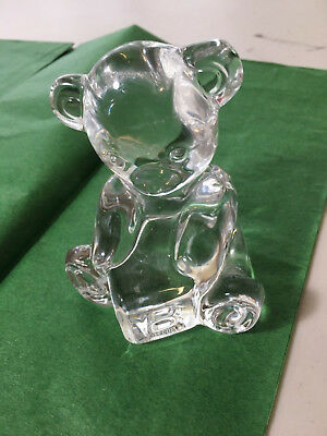 Waterford Crystal Glass Teddybear with ABC Block Paperweight
