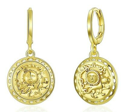 Aventura Sun and Lion Coin Drop Dangle Earrings in 14K Gold Plated ITALY