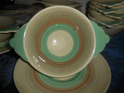 SUSIE COOPER PRODUCTIONS 28PCS 1930s WEDDING BAND? CEREAL BOWLS? PLATES LOOK WOW