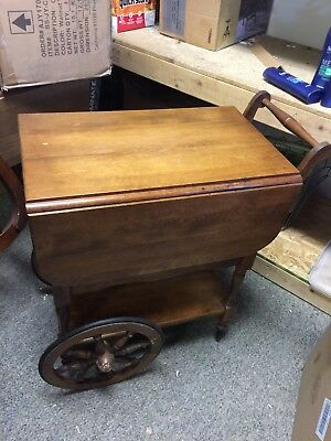 "Vintage ""HARTSHORN"" Drop Leaf Tea Cart Table w/Wheels & Tray"