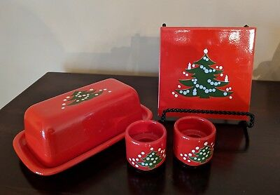 Waechtersbach Red Christmas Tree - Covered Butter Dish, Trivet & Candle Holders