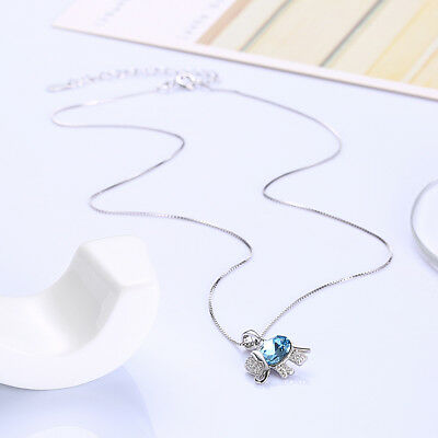 DB Designs Sterling Silver Blue Crystal Accent Musical Note Heart Necklace
