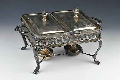 Sheffield Silver Double Chafing Dish w/ Fire King Anchor Hocking Glass Dishes