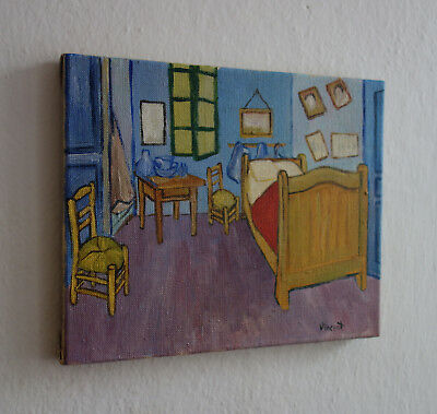 Post Impressionist oil painting of interior, signed, Vincent van Gogh with COA