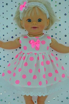 "Play n Wear Doll Clothes For 13"" Little Mommy/Baby Born FLURO DOT DRESS~HEADBAND"