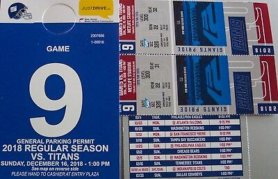 TWO- Tickets- NEW YORK GIANTS VS TENNESSEE TITANS ROW 22- SEC.320 + PARKING PASS
