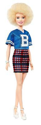 Barbie Fashionistas Fashion Beauty Doll-Blue Jersey Play Skirt &Blonde Afro Hair
