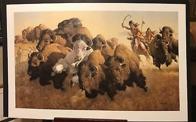 Frank McCarthy IN PURSUIT OF THE WHITE BUFFALO vintage sold out western print