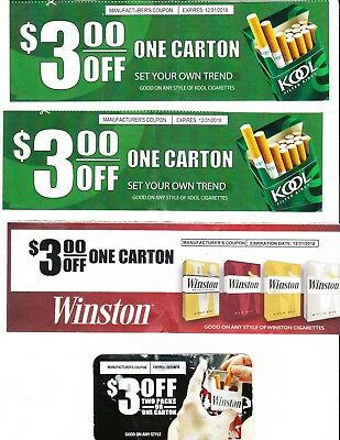 (4) Winston / Kool Cigarette Coupons Save $12 On Cartons! Camel Marlboro