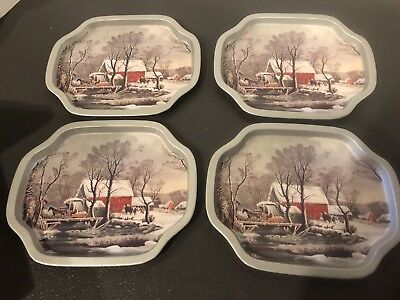 CURRIER & IVES set of 4 matching VINTAGE METAL SNACK TRAYS  SNOW & WINTER SCENE