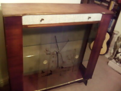 Vintage 1960 display unit/cabinet sliding glass front two drawers windmill scene