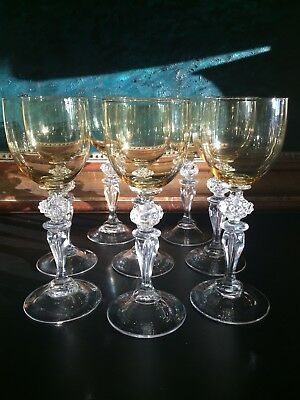 SET OF 8 Vintage/ Antique ROEMER WINE GLASSES Air Bubble Stem Prunts Stunning
