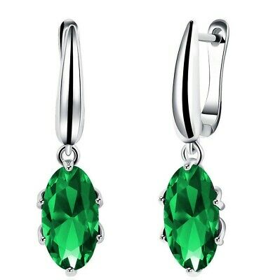 18K White Gold Marquise Emerald Drop Earrings 6CT  Emerald ITALY