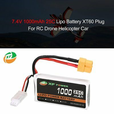 XF POWER 7.4V 1000mAh 25C 2S Lipo Battery XT60 For RC Drone Helicopter Car DST
