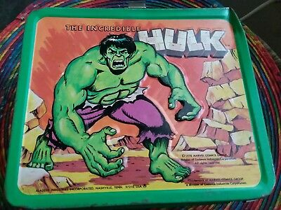 Vintage The Incredible Hulk Marvel Metal Lunch Box And Thermos 1978