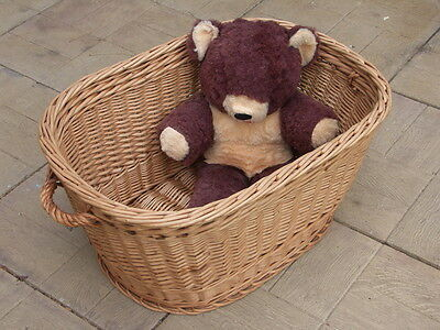 WICKER BASKET Handmade, Honey, Oval + Handles - Laundry Logs Toys - COLLECTION