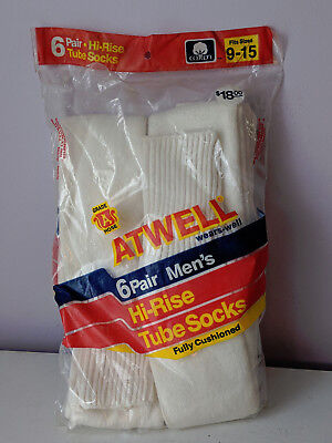 Vintage Atwell  High Rise White Tube Socks 9-15 Made in the USA!!