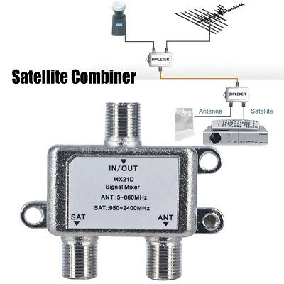 MX21D 2 In 1 2 Way TV Aerial Signal Satellite Splitter Coaxial Diplexer Combiner