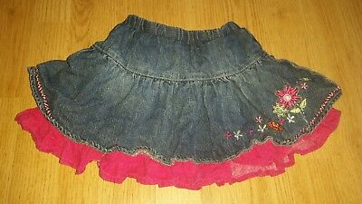 Gorgous blue pink denim MATALAN skirt age 12 18 Months