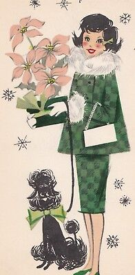 Unused. Pretty Fancy Lady With Poodle , Poinsettia, Vintage Christmas Card!