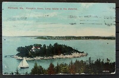 Portland Maine Pumpkin Knob postcard mailed Long Island in the distance