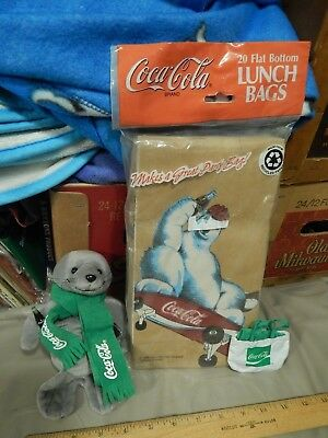 Coca-Cola ~ Coke [LOT of 3] Plush Seal + Polar Bear Brown Lunchbags + Lens Cloth