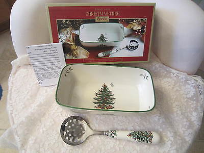 Spode Christmas Tree Cranberry Server with Slotted Spoon--$60 value--NIB