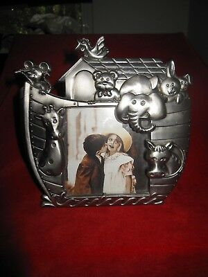 """Noah's Ark Pewter Baby Animal Picture Photo Frame 3 """" x 3"""""""