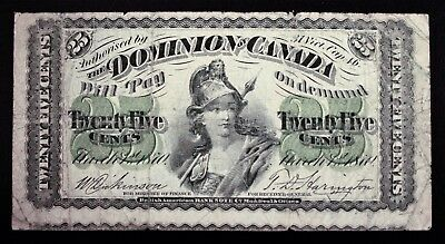 Dominion of Canada 1870 Shinplaster 25cent Banknote With cutting Error in F. 982