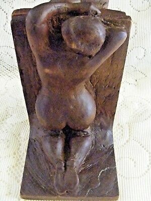 """Vintage Pair of Hand Carved Wooden Art Deco Bookends """"Fat Bottom Girls"""" Nude"""