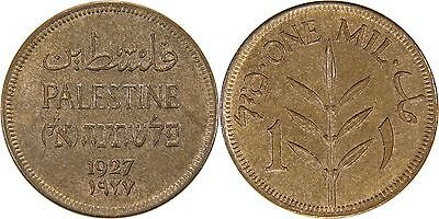 Palestine 1 Mil 1927 Uncirculated+++ *~*Attractive Woodgrain Toning*~*