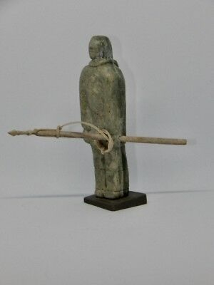 "Inuit Art Soapstone carving Serpentine, inuk 4"", with spear, COA, Tooktooklook"
