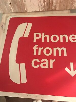 "Vintage ""Phone From Car"" 2 Sided Metal Sign 18"" x 18"""
