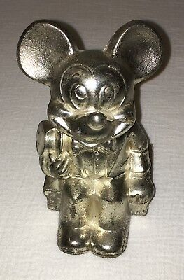 Vintage 1960's Walt Disney Mickey Mouse Silver Plated Metal Bank By Leonard